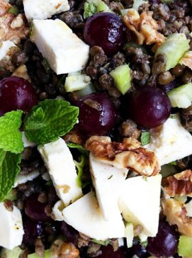 Lentil-Grape Mint Walnut Salad Recipe