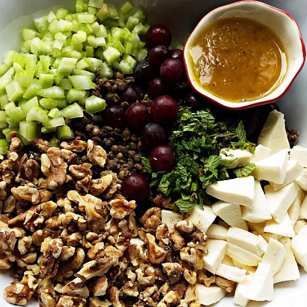 Lentil-Grape Mint Walnut Salad Recipe