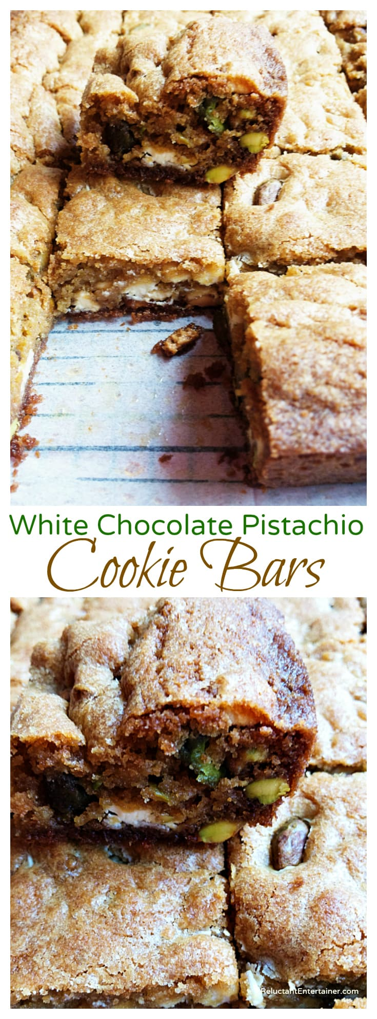 White Chocolate Pistachio Cookie Bars Recipe