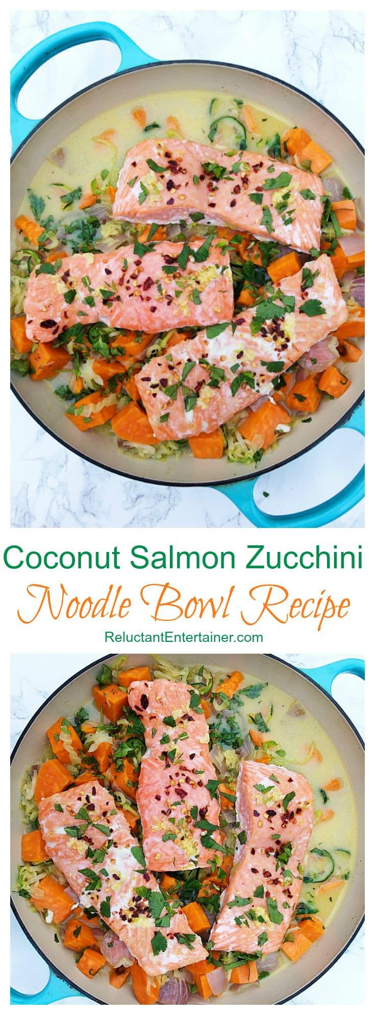 Coconut Salmon Zucchini Noodle Bowl Recipe