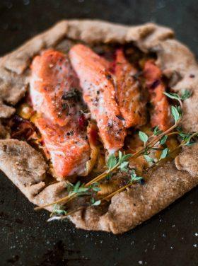 Whole Wheat Leek Salmon Galette