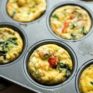 Shallot Roasted Red Pepper Mini Egg Omelets