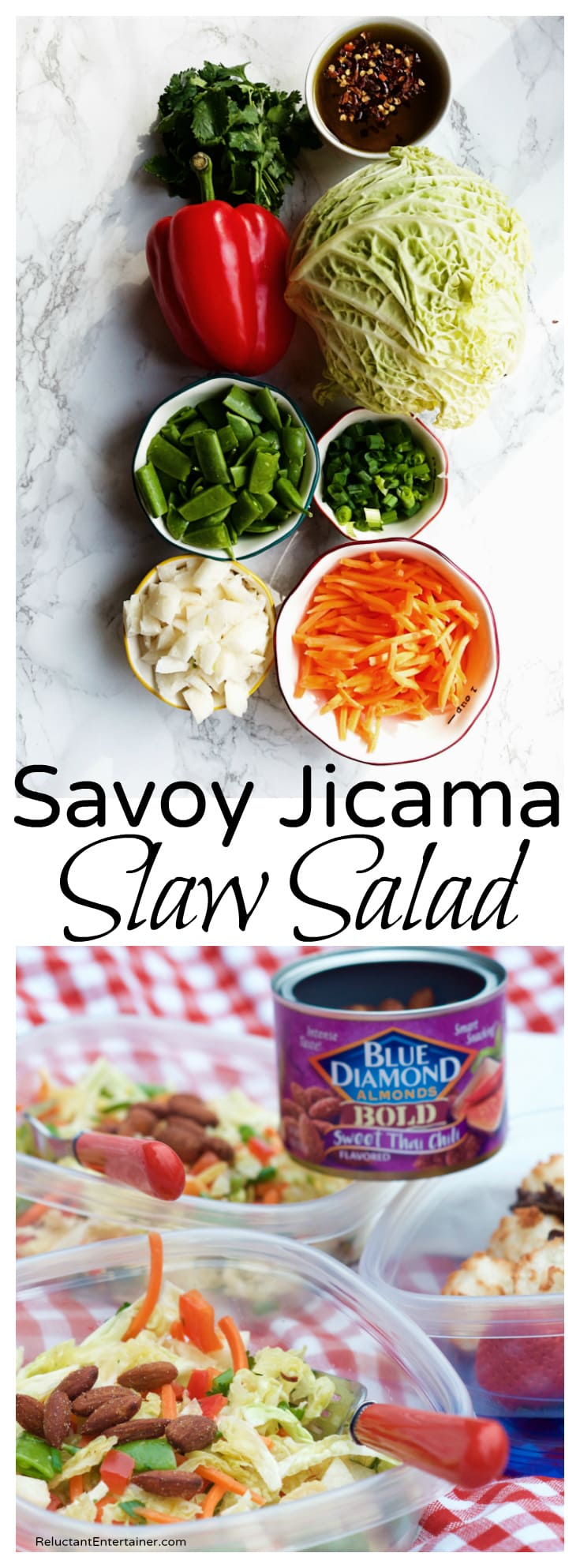 Savoy Jicama Slaw Salad Recipe partnered with Blue Diamond