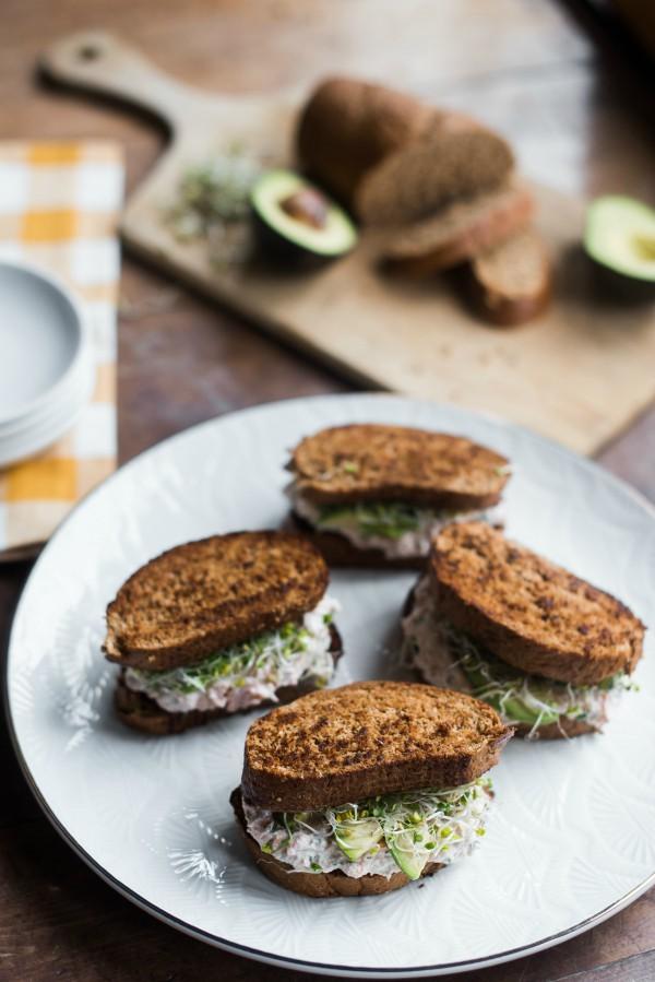 Leftover Lemon Dill Salmon Sandwiches