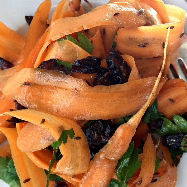 Carrot Prune Fresh Parsley Ribbon Salad