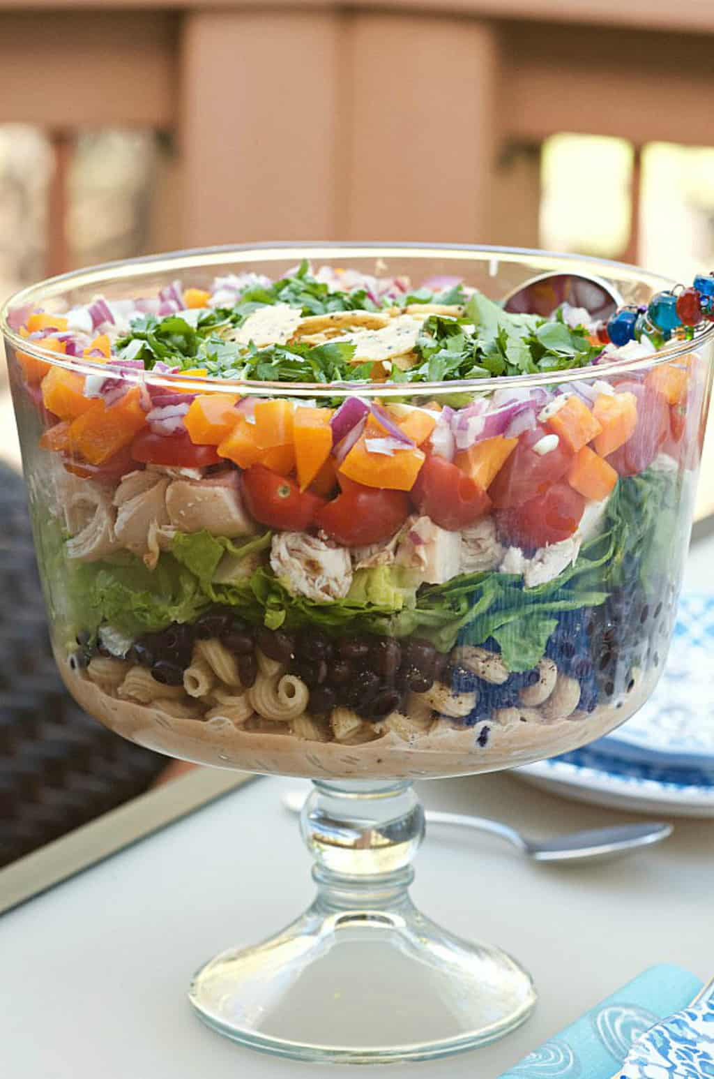 Barbecue Chicken Layered Pasta Salad Reluctant Entertainer