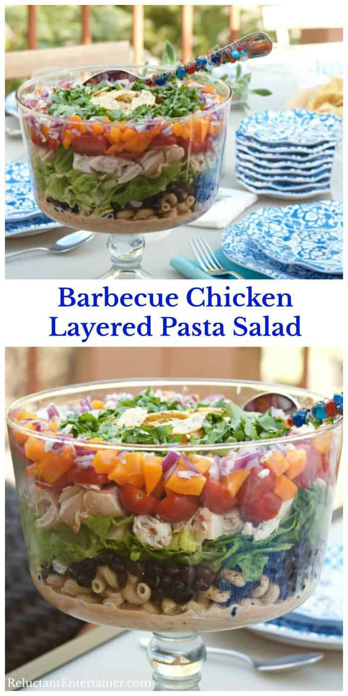Barbecue Chicken Layered Pasta Salad