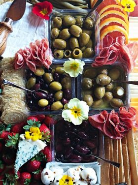 Olive, Meat, Cheese Board Recipe