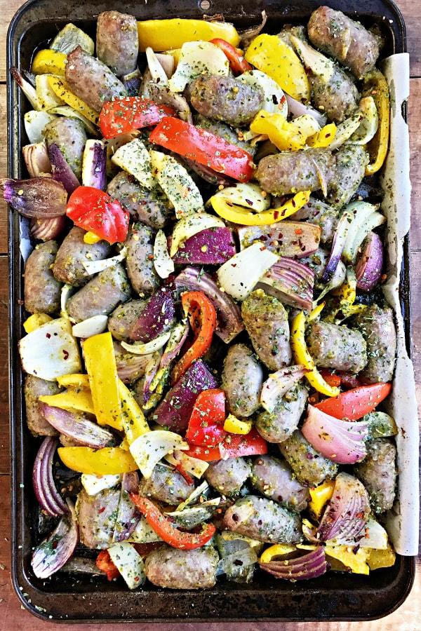 Pesto Bratwurst Sheet Pan Dinner
