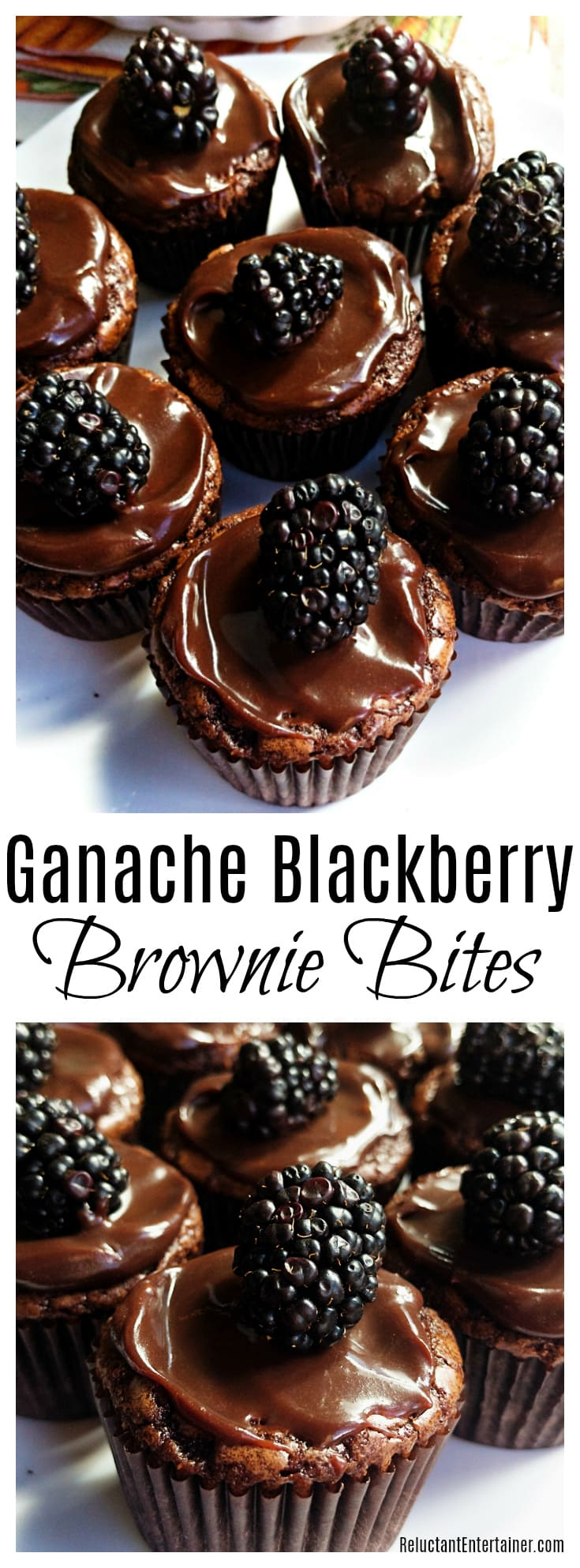 Ganache Blackberry Brownie Bites