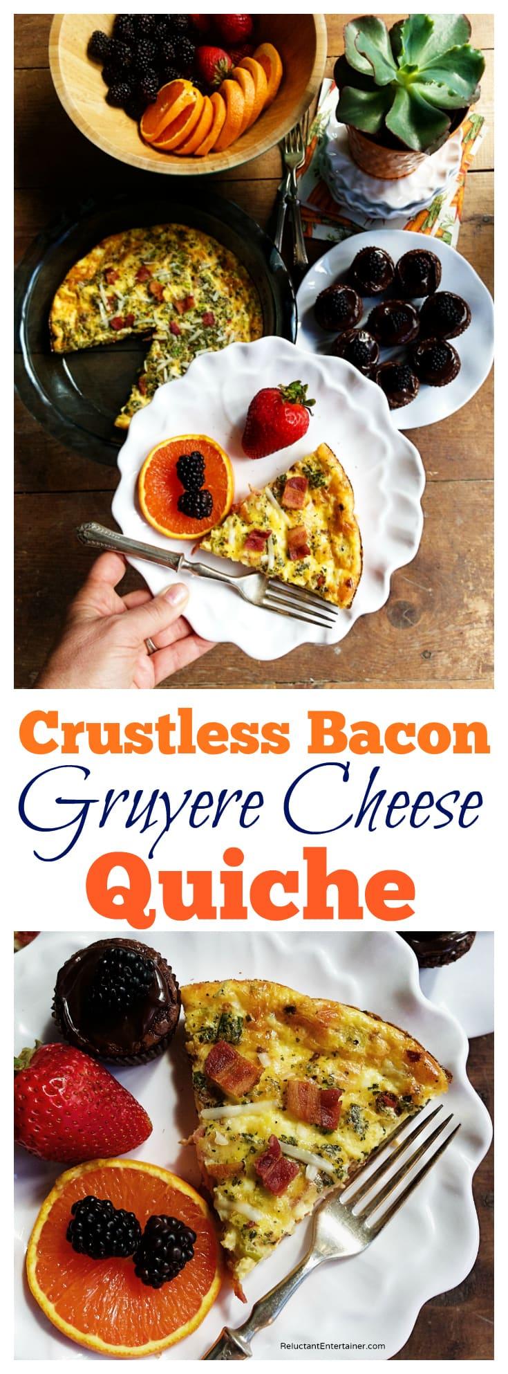 Crustless Bacon Gruyere Cheese Quiche