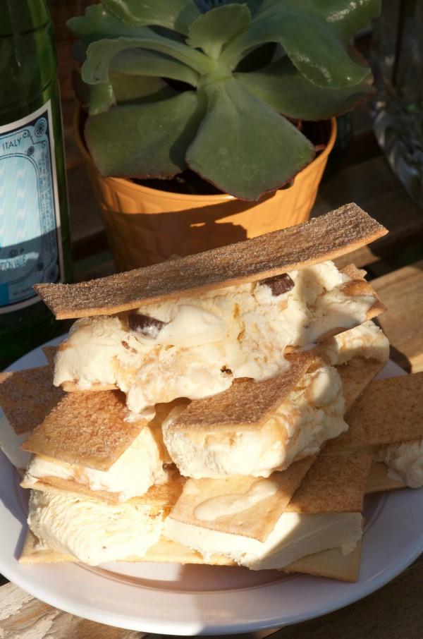 Cinnamon Flatbread Ice Cream Sandwiches
