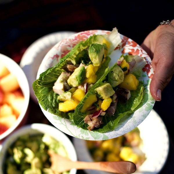Mango Salsa Teriyaki Chicken Lettuce Wraps - Reluctant ...
