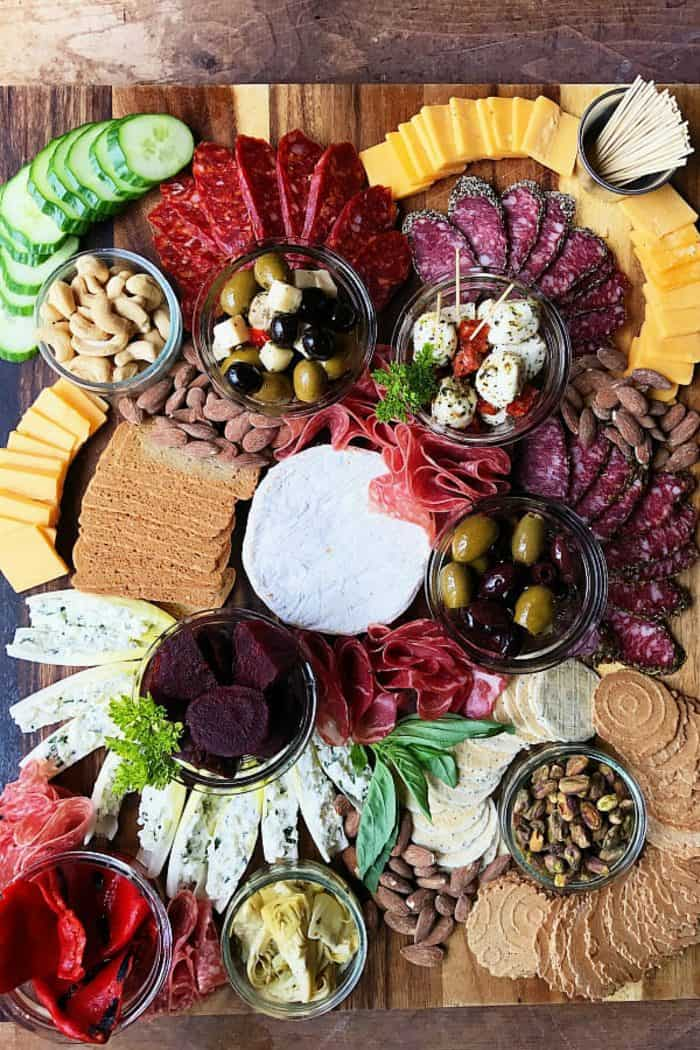 Meat Cheese Olive Charcuterie Board