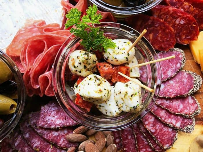 Easy Meat Cheese Olive Charcuterie Board