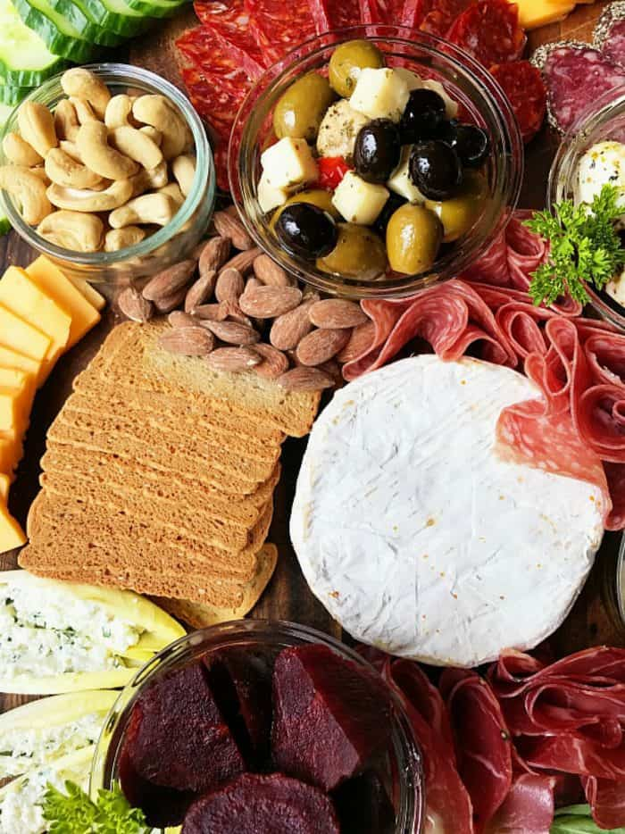 Meat Cheese Olive Charcuterie Board - brie cheese