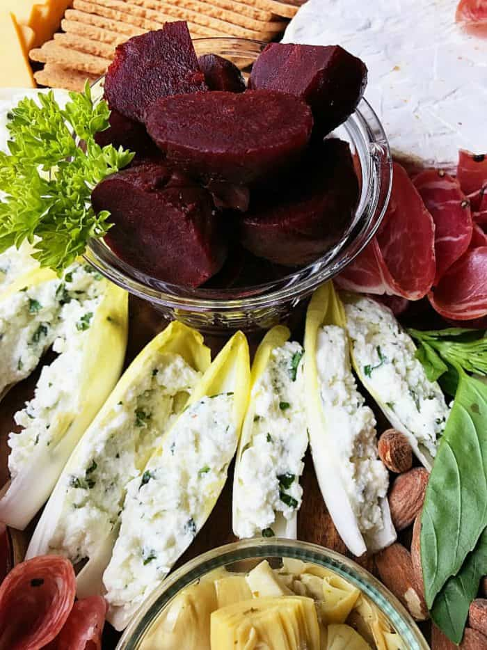 Meat Cheese Olive Charcuterie Board - stuffed endive