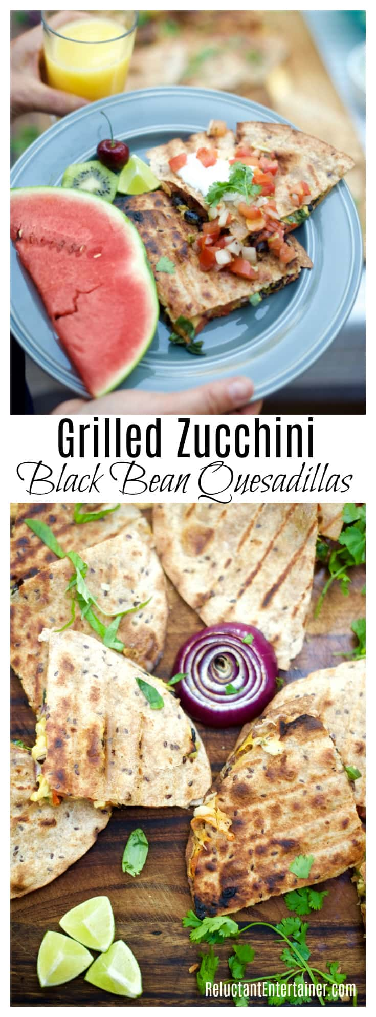 Grilled Zucchini Black Bean Quesadillas in partnership with Bush's Beans