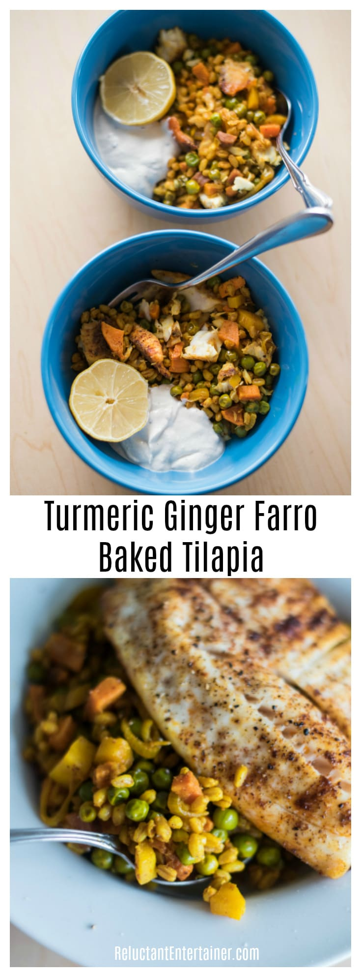 Turmeric Ginger Farro Baked Tilapia