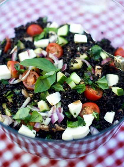Greek Black Rice Caprese Salad Recipe
