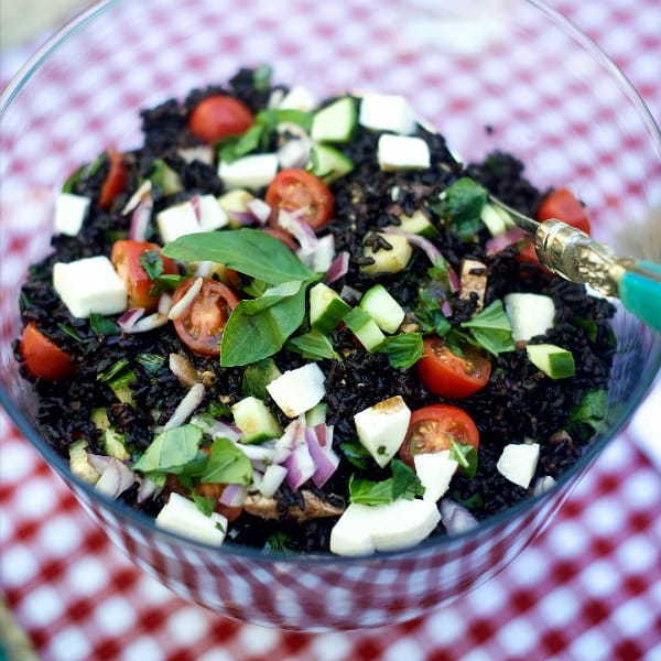 Greek Black Rice Caprese Salad Recipe