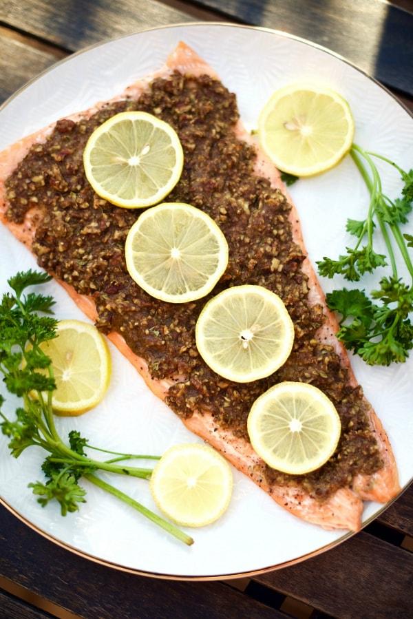 Pecan-Dijon Crusted Salmon Recipe - Reluctant Entertainer