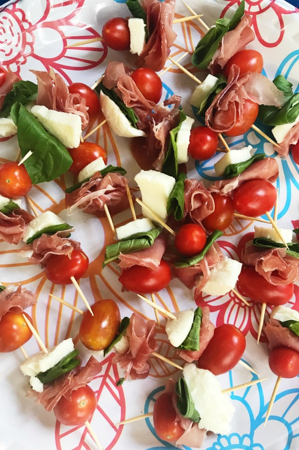 Prosciutto Caprese Kebabs Appetizer