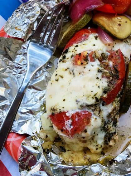 Caprese Chicken Foil Packs