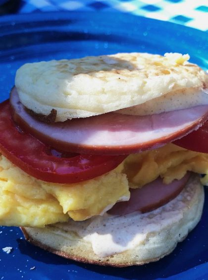 Camping Canadian Bacon Egg Breakfast Sandwiches Recipe