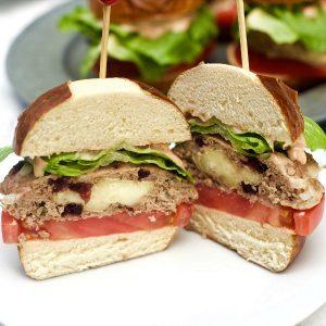 Brie-Stuffed Cranberry Turkey Burgers