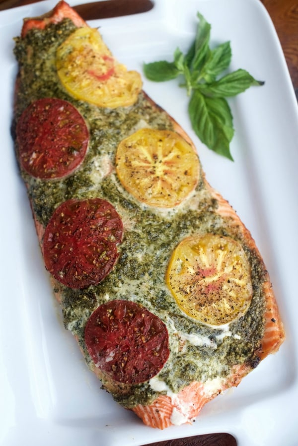 Cashew Pesto Steelhead with Heirloom Tomatoes