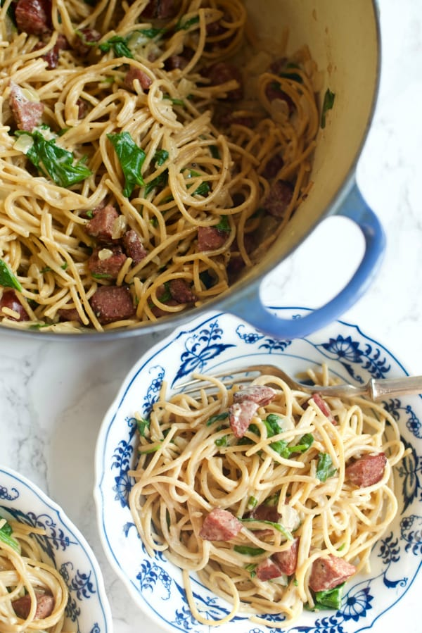 One-Pot Sausage Spaghettini Dinner
