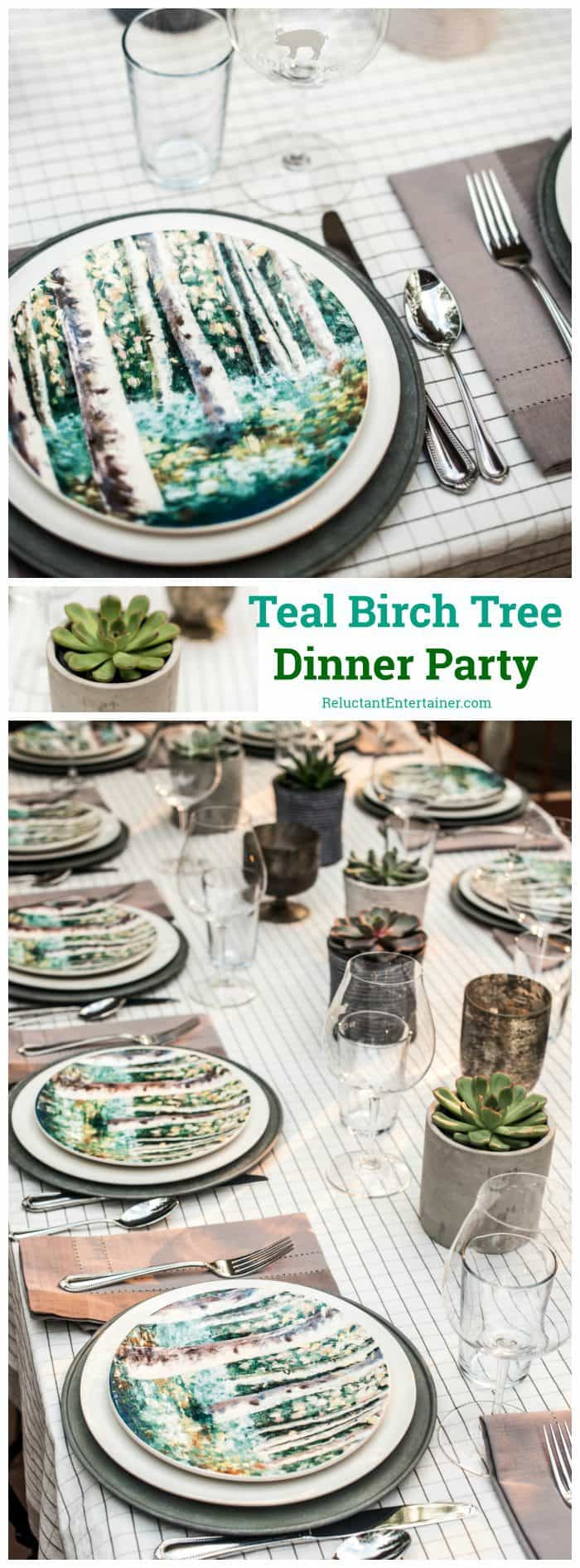 Teal Birch Tree Dinner Party