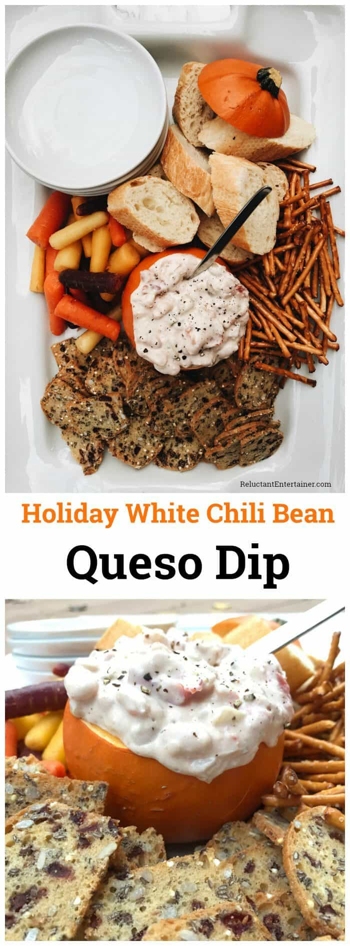 Holiday White Chili Bean Queso Dip