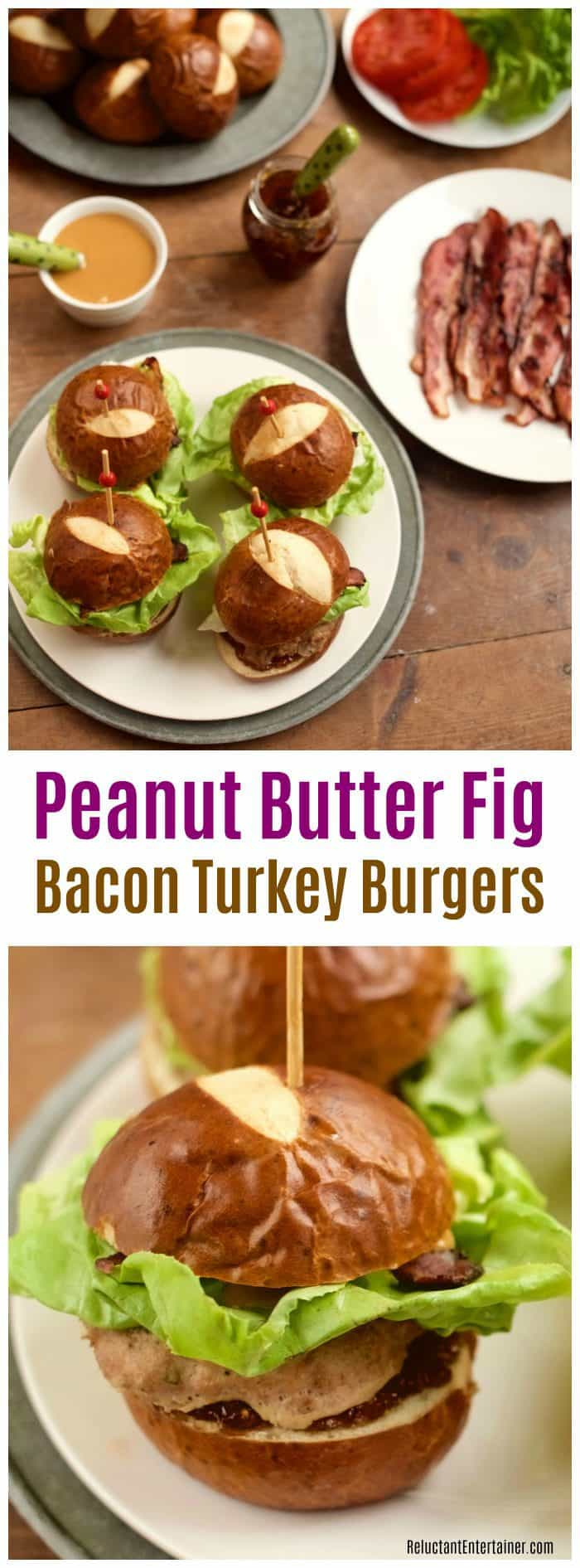 Peanut Butter Fig Bacon Turkey Burgers