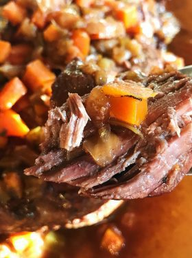 Slow Cooker Mirepoix Roast Beef