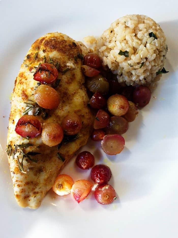 Baked Chicken Breasts with Roasted Grapes
