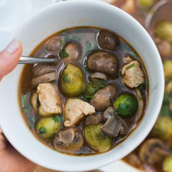 Brussels Sprout Mushroom Chicken Soup
