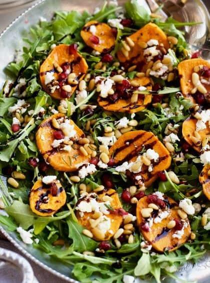 Garlic Roasted Yam Arugula Salad