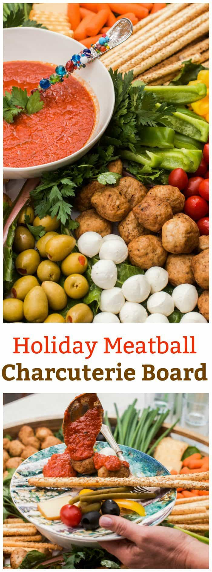 Holiday Meatball Charcuterie Board in partnership with CLASSICO