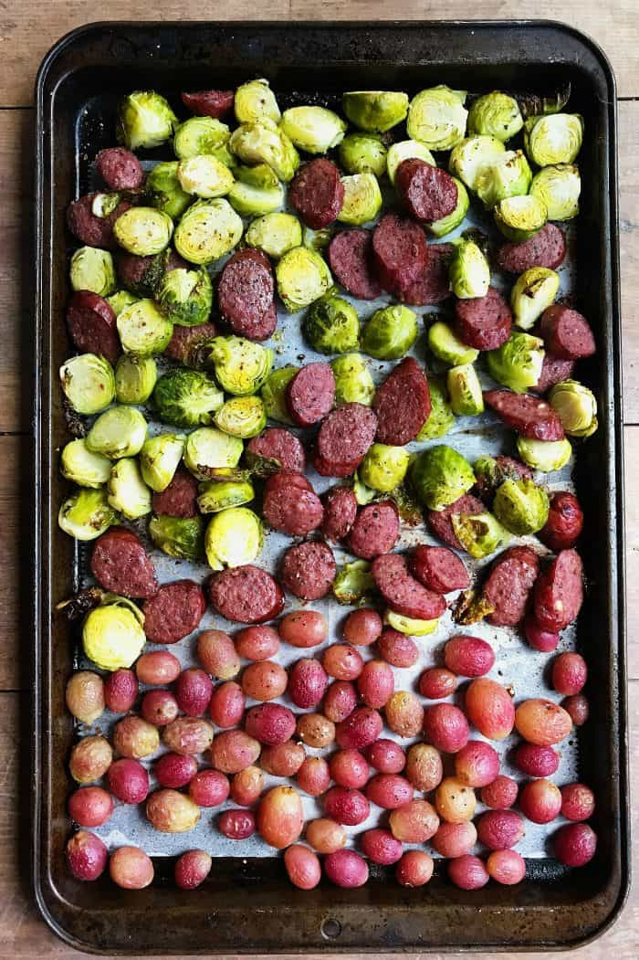 Sausage Grape Roasted Brussles Sprouts Side Dish