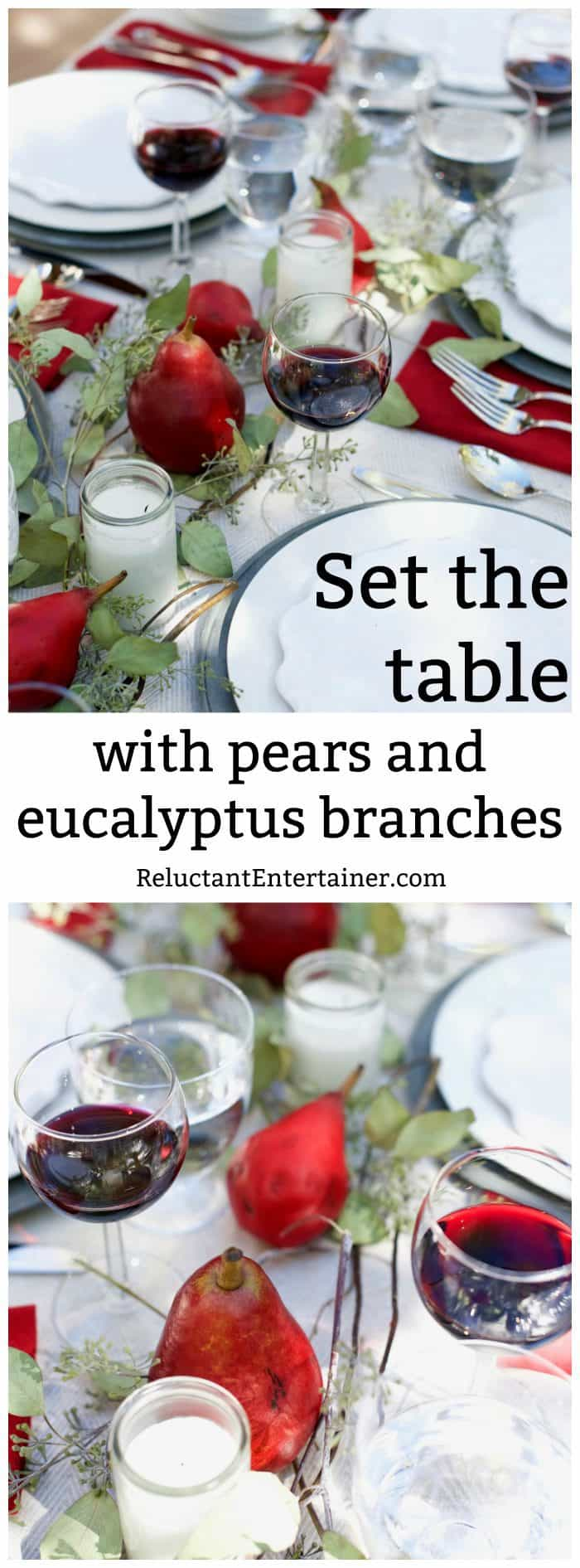 Set the table with pears and eucalyptus branches