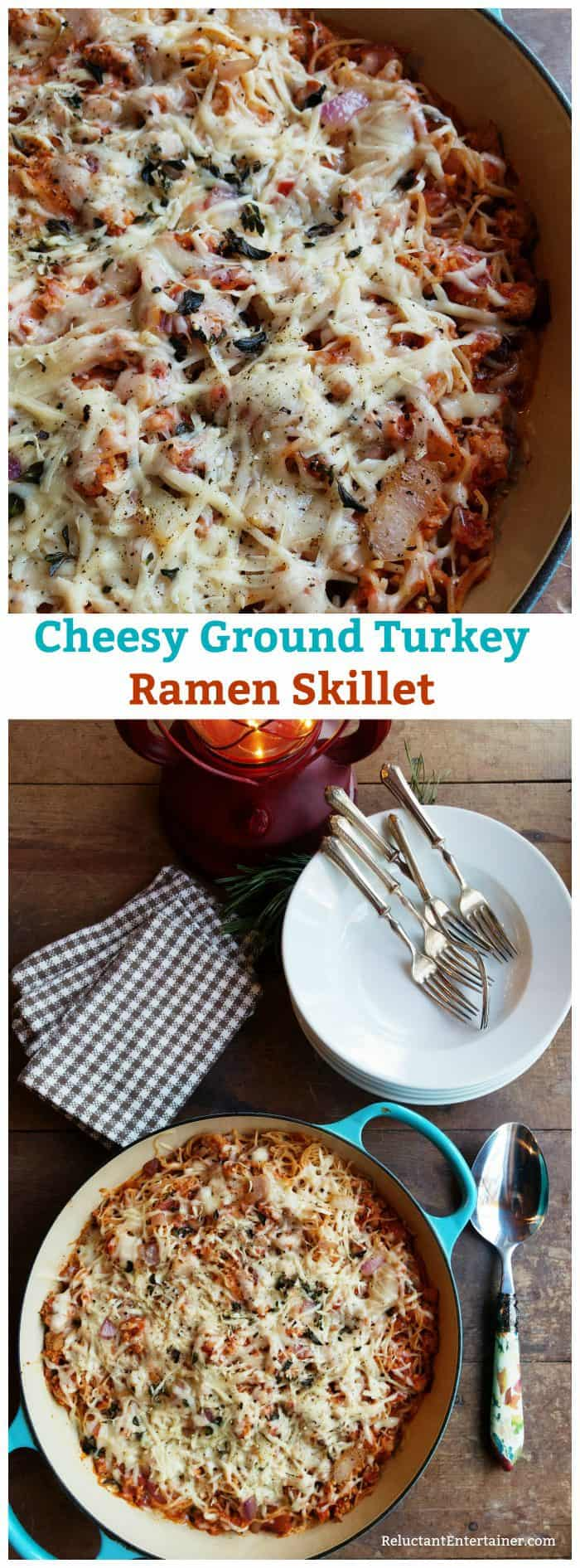 Cheesy Ground Turkey Ramen Skillet Recipe