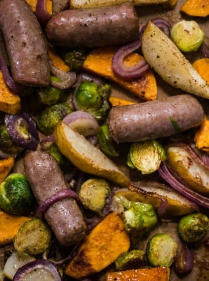 Brussels Sprout Pear Bratwurst Sheet Pan Dinner
