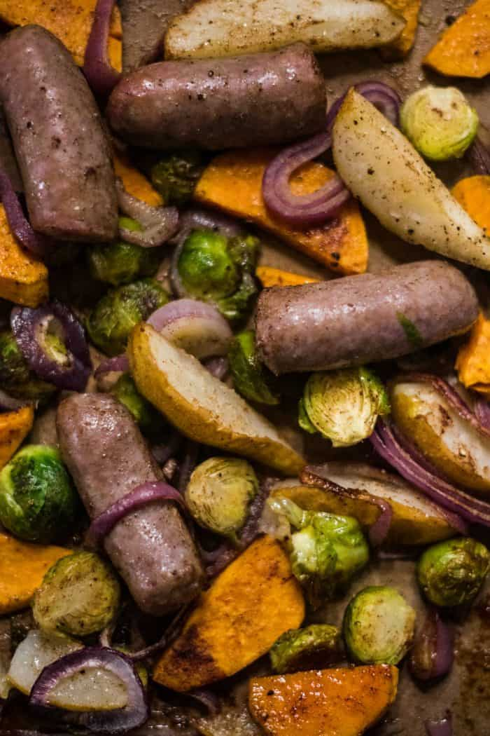 Brussels Sprout Pear Bratwurst Sheet Pan Dinner