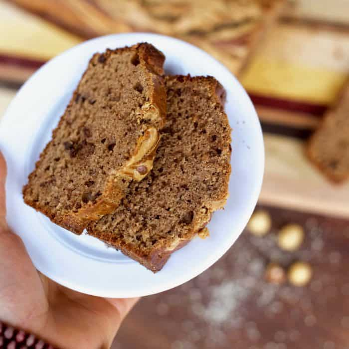 Chocolate Hazelnut Peanut Butter Banana Bread