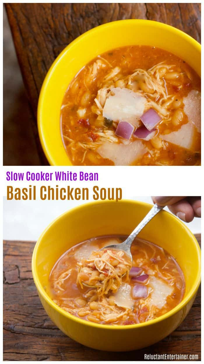 Slow Cooker White Bean Basil Chicken Soup