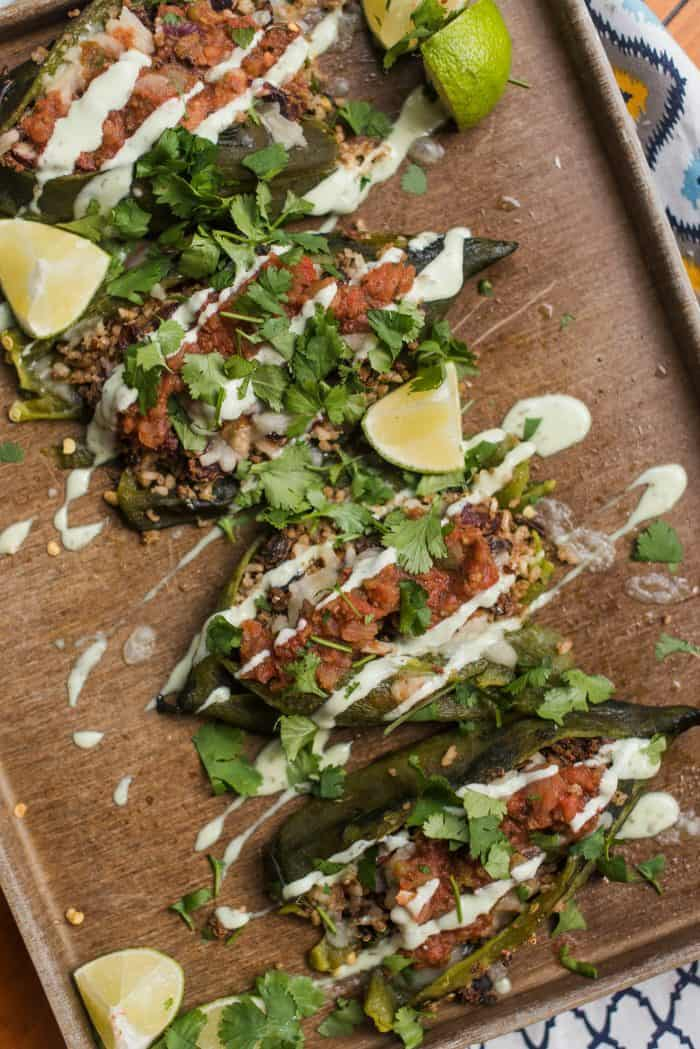 Stuffed Poblano Peppers with Spanish Style Rice