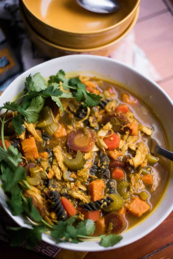 Turmeric Sweet Potato Chicken Noodle Soup