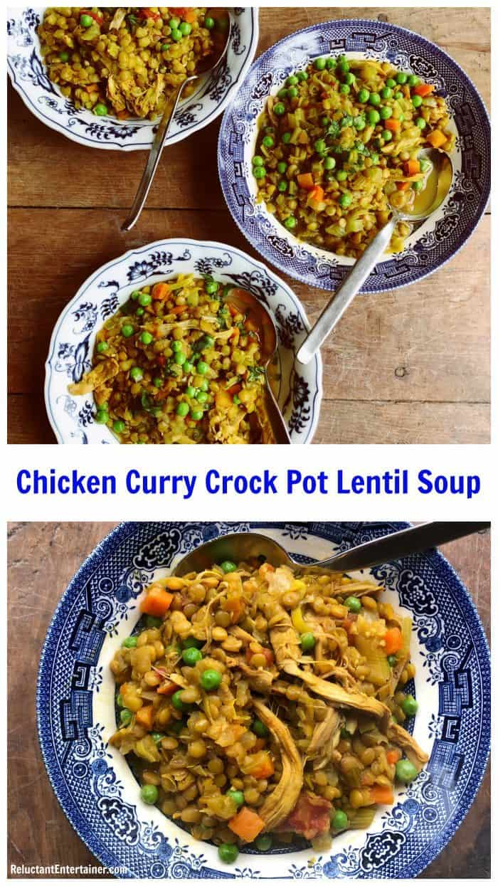 Chicken Curry Crock Pot Lentil Soup - Reluctant Entertainer